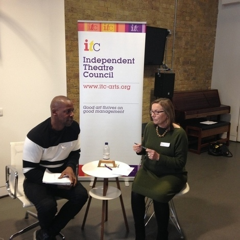 Topher Campbell (Chair of ITC) and Judith Knight (Director of Artsadmin) speaking at the Diversity Planel and Pledge Discussion at ITC's AGM